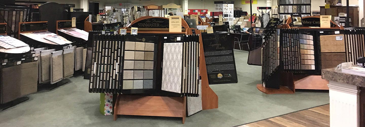 Witt Flooring Center's showroom offers a large selection of carpet, hardwood, tile, stone, laminate, vinyl, and area rugs.